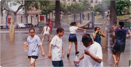 Children playing at Bathgate Playground in Crotona Park, Bronx, circa 1998. Photo by Benjamin Swett; courtesy of Parks Photo Archive; Neg. 53540.