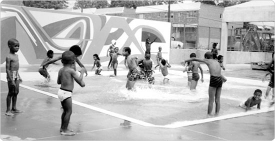 Image of An August 16, 1969 shot of children enjoying the small pool in Haffen Park shortly after its opening.