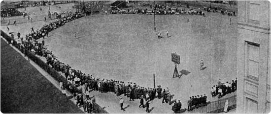 Baseball, Hamilton Fish Park Playground, Lower East Side, on Sunday Afternoon. Summer. Annual Report of the Bureau of Recreation, Department of Parks, for Year Ending December 31, 1912.