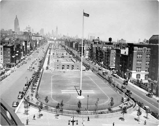 Overlooking Sara D. Roosevelt Park, Manhattan, August 24, 1936. Courtesy of Parks Photo Archive, Neg. 10840.