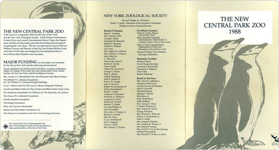 The invitation to the Central Park Zoo reopening on August 8, 1988.