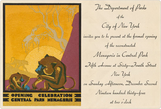 The invitation to the opening of the Menagerie in Central Park, December 2, 1934.