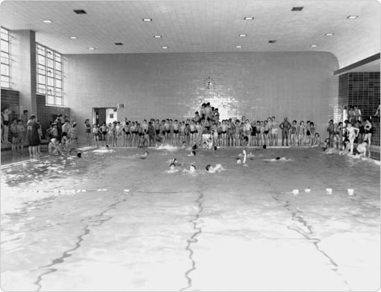 Indoor pools extended the New York swim season to a year-round schedule, St. Mary?s Pool, Bronx, September 6, 1951. Courtesy of Parks Photo Archive.