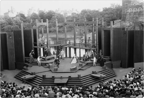 June 17, 1964 performance of Hamlet at the Delacorte Theatre, Belvedere Castle in the background. Neg. 31992.
