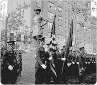 October 19, 1936 unveiling ceremony for the General Sheridan monument, with the Color Guard before the statue. Courtesy of Parks Photo Archive, Neg. 9804.