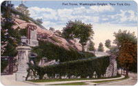 Postcard image of the original location of the Battle of Harlem Heights monument in Fort Tryon Park.