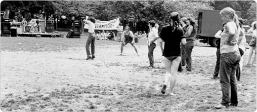 Lesbian gathering at a gay pride rally in Central Park, July 1970.