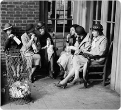 Women gather in the Prospect Park Picnic House, April 21, 1935.