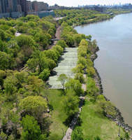 Fort Washington Park stretches from 155th to 200th street along the Hudson River