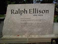 A stone marker from Riverside Park's Ralph Ellison Memorial, Manhattan.