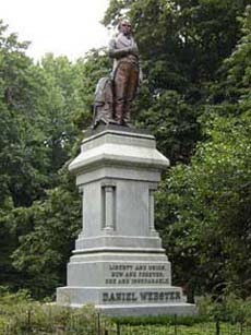 Central Park's Daniel Webster statue on its Quincy Granite pedestal.