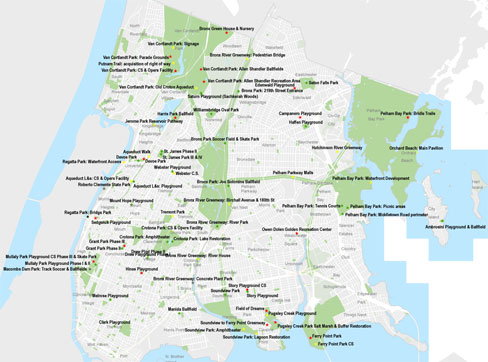 Bronx Parks for the 21st Century Project Map