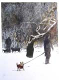 David Gordon, Dog Walk, 2010, hand colored lithograph, courtesy of the Art Students League
