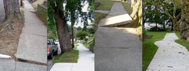 Before and after pictures of sidewalk repairs