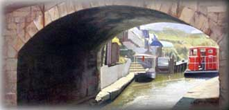 Painting of a bridge crossing a link in Scotland