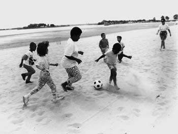 Children Playing Soccer, Orchard Beach, Bronx, May 23, 1989