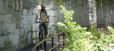 Man riding bike along bikeway next to stone wall through park