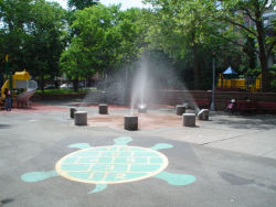 Crispus Attucks Playground Spray Showers and Hopscotch