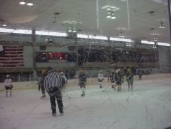 Picture of Hockey game through plexi-glass