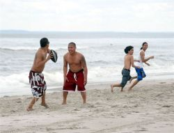 A football game at Rockaway Beach