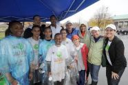 Community volunteers, New York Knicks, Adrian Benepe, and PlaNYC staff.