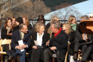 Elliot G. Sander, Executive Director and CEO of the Metropolitan Transportation Authority, Ethel Kennedy, and Mayor Michael Bloomberg