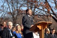 New York Governor David Paterson speaks at the Robert F. Kennedy Bridge dedication