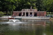 Fountain, canoes, and nature center