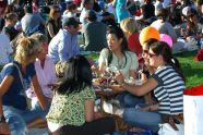 Concertgoers enjoy a meal before the performance