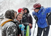 Commissioner Benepe chats with kids about their snow day