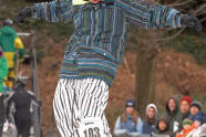 Demonstrating his skills at Rail Jam