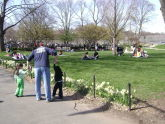 Park Visitors Enjoying a Spring Day