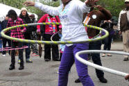 Perfecting her hula hoop style