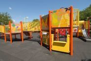 A bright graphic playground at Robert Venable Park