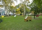 Sheep Cow Deer Dog Chicken Cat Goat (1997), a group of painted wooden animals, view 2