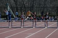 Going over the hurdle at the PSAL season opening track meet