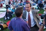 Commissioner Adrian Benepe speaks with a NY1 reporter
