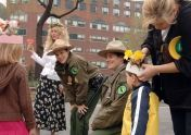 Urban Park Rangers speak to children about flowers