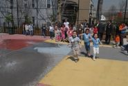 Eager to play in the renovated playground