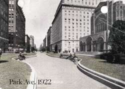 Historical image of a section of the Park Avenue mall in 1922