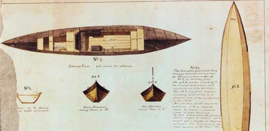 Gondola,  Central Park, Manhattan color reproduction of plans for gondola,  circa 1875, Collection of the Municipal Archives/City of New York