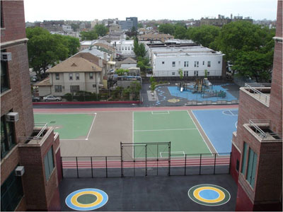 PS 205K after construction of playground