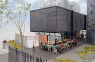 Atelier Bow-Wow, BMW Guggenheim Lab rendering, View from Houston Street, Courtesy of the BMW Guggenheim Lab