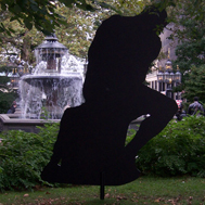 Peter Coffin's Untitled (Sculpture Silhouettes), homage to Rodin's The Thinker. Photo by Jonathan Kuhn.