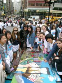 Students of 239K with their table Gambling with Time, courtesy of NYC Parks