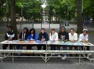 Students from PS 79 in front of their work at Marcus Garvey Park, Manhattan (courtesy LEAP)