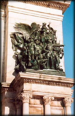 Photo of Navy group on Soldiers' and Sailors' Arch in Grand Army Plaza, Prospect Park, Brooklyn