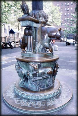 Photo of the flagstaff base by Paul Manship in Governor Alfred E. Smith Park, Manhattan