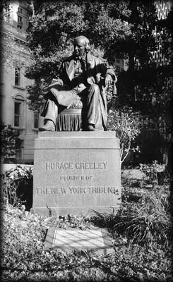 Photo of the Horace Greeley Statue in City Hall Park, Manhattan