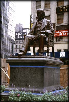 Photo of the Horace Greeley Statue in Greeley Square, Manhattan